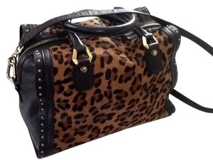 Satchel in Black With Leopard Print