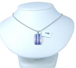 9.2.5 Gorgeous Emerald cut shape 3x3mm Princess Cut Tanzanite simulant Setting Sterling Silver Pendant