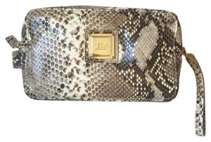 Hervé Leger Herve Leger Snakeskin Leather Makeup Bag