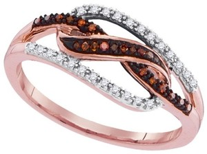 Other Ladies Luxury Designer 10k Rose Gold 0.15 Cttw Red Diamond Micro-Pave Fashion Ring By BrianGdesigns