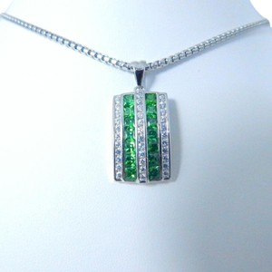 9.2.5 Stunning Emerald cut shape 3x3mm Pendant Sterling Silver