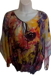 Karen Kane Silk Dolman Top Watercolor