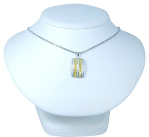 9.2.5 Appealing Emerald cut shape 3x3mm Princess Cut Yellow diamond simulant Pendant Sterling Silver