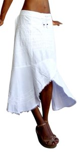 Lirome Crochet Casual Cottage Organic Skirt White
