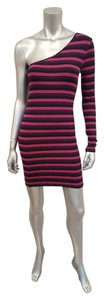 Torn by Ronny Kobo Striped Mini One Shoulder Dress
