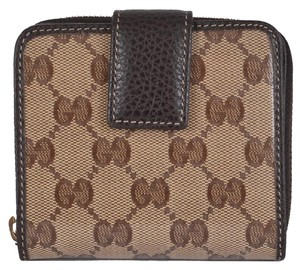 Gucci NEW Gucci Women's 346056 Crystal Canvas GG Guccissima French Zip Around Wallet
