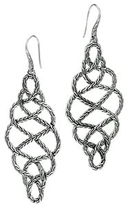 John Hardy John Hardy Chain Sterling Silver Large Braided Earrings Velvet Bag