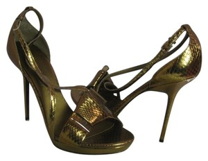 Burberry Gold Stiletto Snake Bow metallic Sandals