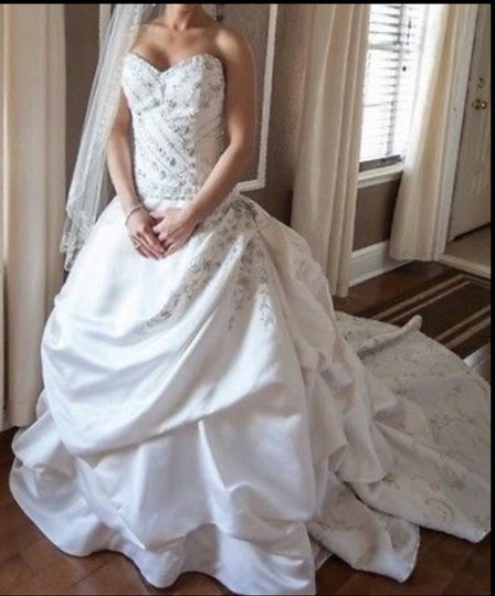 Eve of milady white satin 4216 silk embroidery strapless for Jessica designs international wedding dresses