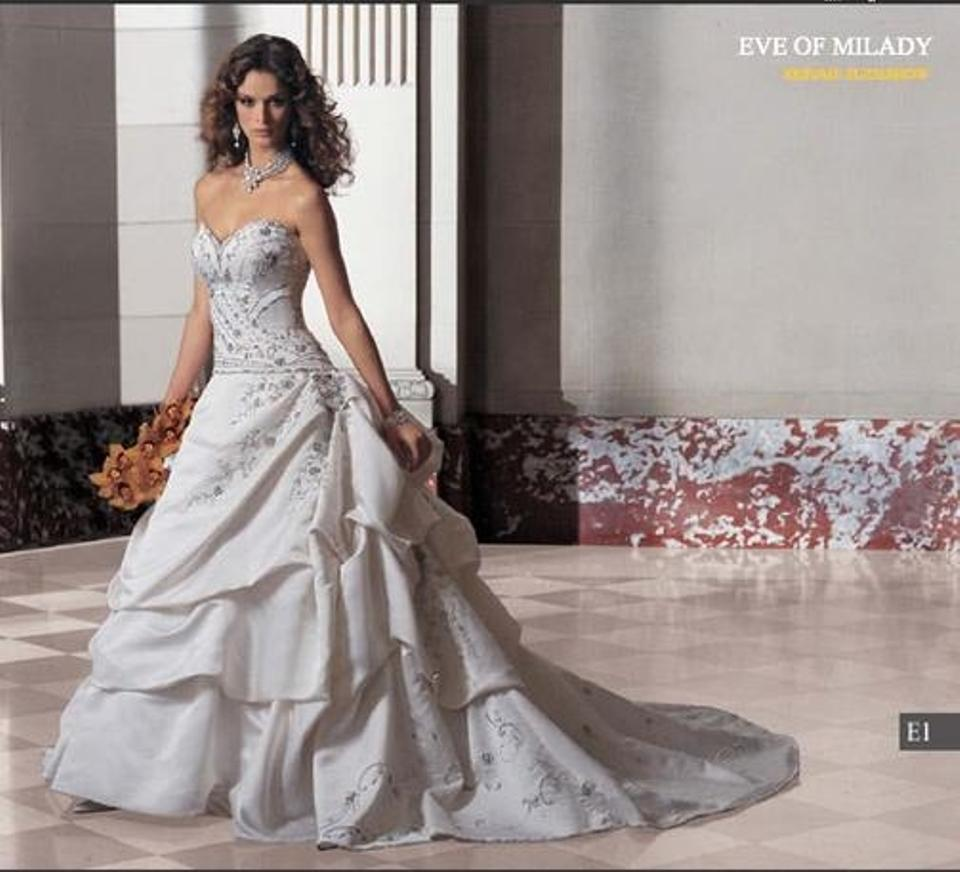 c2bf8b36386 Eve of Milady White Satin 4216 Silk Embroidery Strapless Sweetheart Formal  Wedding Dress