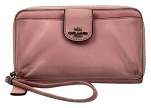 Coach Leather Wristlet in Petal Pink