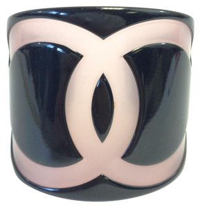 Chanel #7819 Large Wide CC Black Pink Cuff Bracelet Bangle