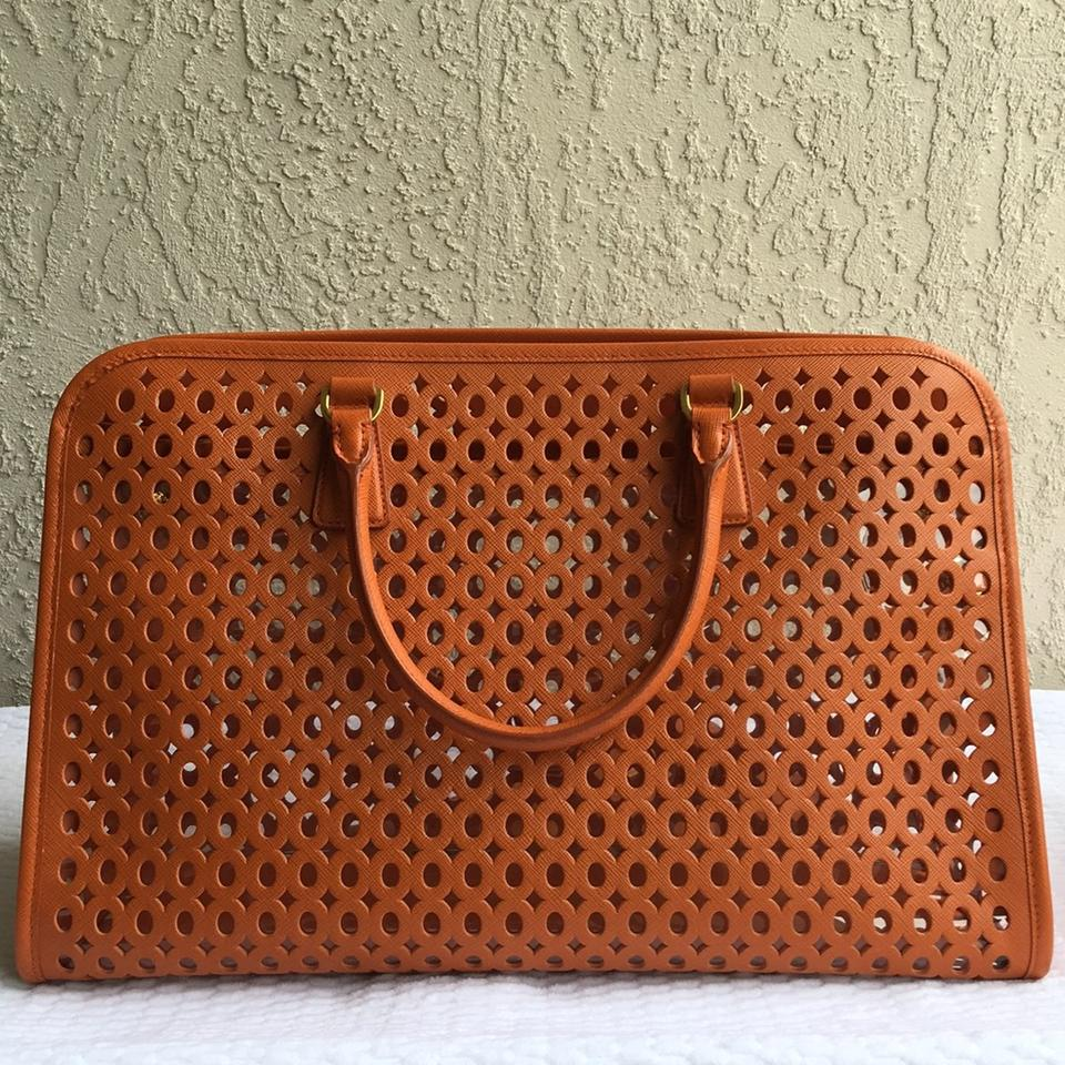0e6922a791d0fd Prada With Code Double200 Perforated Saffiano Fori with Pouch Orange ...