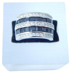 9.2.5 Gorgeous Emerald cut shape 3x3mm Princess Cut Black Diamond Ring Sterling Silver