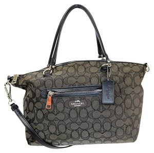 Coach Fabric Satchel in Black/Gray