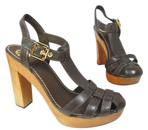 Tory Burch Wood Heel Platform BROWN Sandals
