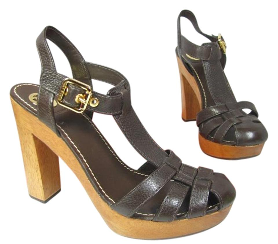 512b1a78d Tory Burch Brown T River Coconut T-strap Wood Heel Platform Sandals ...