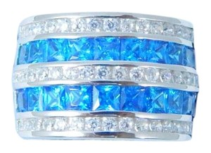 9.2.5 Magnificent Emerald cut shape 3x3mm Princess Cut Blue diamond simulant RIng Sterling Silver