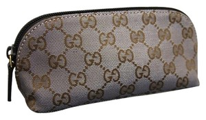 Gucci Gucci Brown Silver Makeup Case Canvas Cosmetic Bag