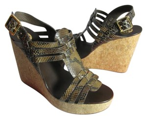 Tory Burch Sandals Platform Cork Snake Print BROWN Wedges