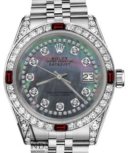Rolex Rolex 36mm Datejust Black MOP String Dial with Ruby & Diamond