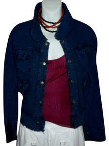 Lirome Bohemian Summer Spring Cottage Chic Organic Marine Blue Womens Jean Jacket