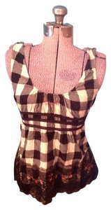 American Rag Flannel Cotton Plaid Lace Floral Top