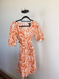 H&M short dress Orange & White on Tradesy
