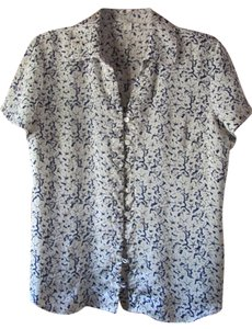 Coldwater Creek Morning Glorys Petite Petite Large Floral Top Navy Blue & Creamy White