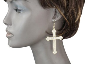 Women Fashion Earrings Gold Metal Silver Rhinestones Charm Catholic Cross Bless