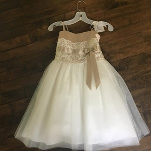 David's Bridal Ivory/Champagne H1173 Dress
