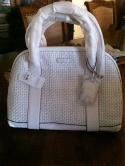 Coach Satchel in White /Silver Image 4