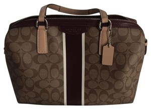 Coach Tote in Brown & Maroon