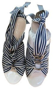 Coach Nantucket Summer Sailor Comfortable Blue/white Stripe w/Wood Platforms