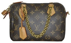 Louis Vuitton Speedy Chain 20 Handbag Canvas Shoulder Bag