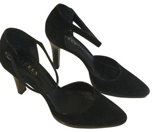 Ralph Lauren Heel Mary Jane Strap Black Suede Pumps