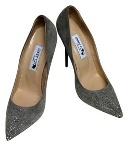 Jimmy Choo Studded Glamour Party Chic Gray Pumps
