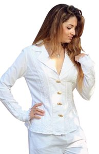 Lirome Embroidery Embellished Bohemian Woven White Jacket