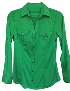 Express Zipper Button Down Shirt Green
