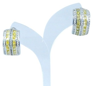 9.2.5 Appealing Emerald cut shape 3x3mm Princess Cut Yellow diamond simulant Earring Sterling Silver