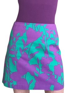 Elie Tahari Hawaiian Mini Skirt Purple/Green