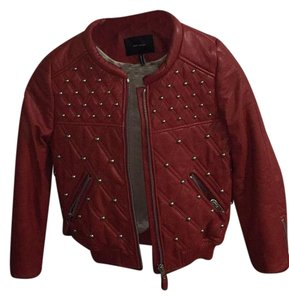 Isabel Marant Red with silver-metal studs Leather Jacket