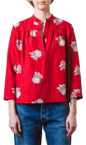 Horses Atelier Silk Linen Top Red