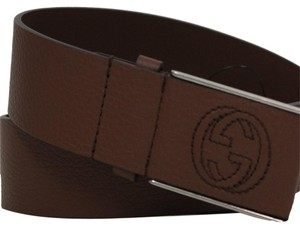 Gucci Gucci Men's Brown Leather belt with Plaque GG Buckle 368188 Size 40