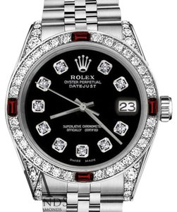 Rolex Rolex 36mm Datejust Black S/S Dial With Ruby & Diamond Bezel Accent
