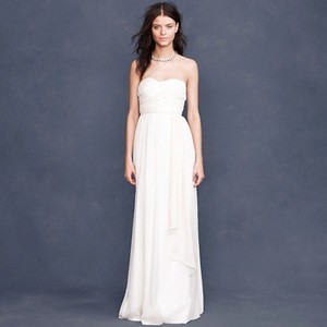 J.Crew White/Cream Silk/Chiffon Taryn Feminine Wedding Dress Size Petite 2 (XS)