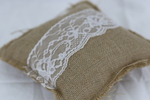 Brown White Burlap and Lace Ring Bearer Pillow