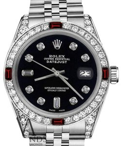 Rolex Women's Rolex 31mm Datejust Black Color Dial with Ruby & Diamond