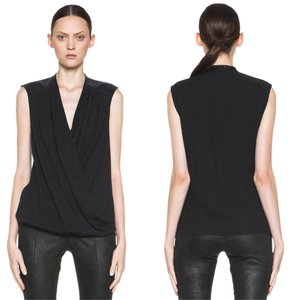 Helmut Lang Draped Leather Sleeveless V-neck Morse Top Black