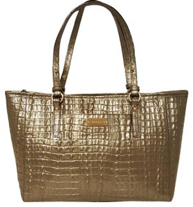 Brahmin Leather Shoulder Tote in PYRITE SILVER GREY